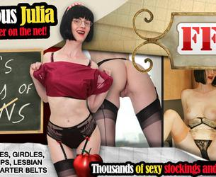 [ffstockings.com] Mature Stockings, FF stockings on Julia the Naughty Teacher (91 rolik) [2010-2013, Mature, Stockings, Lingerie, Solo, Lesbian, Strapon]