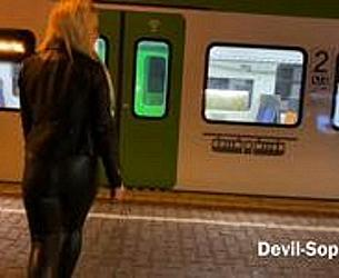 Public Latex piss in the train with devil-sophie